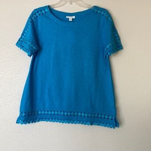 Charter club turquoise lace detail top